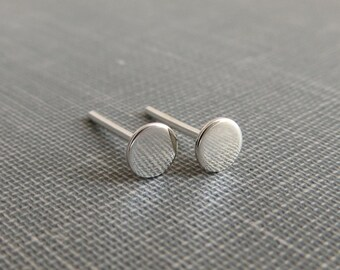 Sterling Silver Post Earrings - Flat Dot Studs - 4mm Small and Dainty - Simple Modern Minimal Earrings