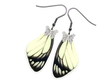 Handmade  Real Butterfly Wing Earrings (Delias Hyparete Forewing  - E214)
