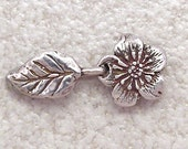 Green Girl Studios Sterling Silver Rose Blossom Hook and Eye Clasp