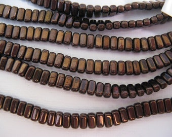 CzechMates Brick Beads 2 Hole, 3x6mm , one string of 50 beads - Dark Bronze