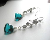dangle earrings ... A Trillion Plus ... faceted teal green quartz, floral modern hooks  .... #376