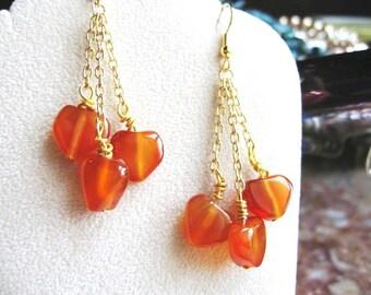 Carnelian Hearts ... natural carnelian, dangle, wire wrapped .. #208