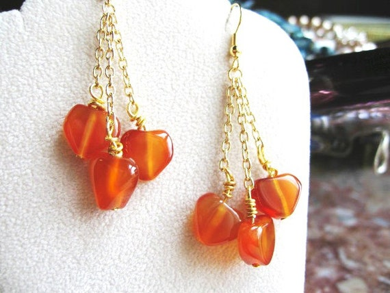 Carnelian Hearts ... natural carnelian, dangle, wire wrapped .. #208