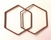 10 pieces of cut raw brass tube outline charm in hexagon geometric shape deco 34x39x1.5 mm