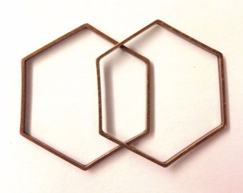 10 pieces of cut raw brass tube outline charm in hexagon geometric shape deco 34x39x1.5 mm