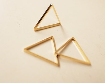 20 pieces of newly made cut raw brass thick tube outline charm in triangle 16x1.5mm with new plating in gold tone