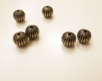 12 Vintage brass beads crimp pleated folded ball 6mm plated in antigue brass color