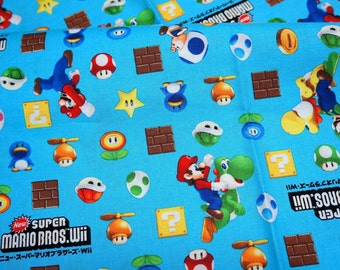 "Mario Bross Print Japanese fabric 50 cm by 53  cm or 19.6"" by 21"" Fat Quarter"