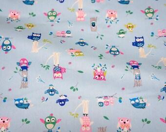 Owl   print Japanese Fabric A7