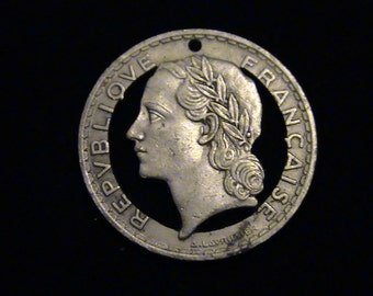 FRANCE - Cut Coin Pendant - w/ Woman - 1933