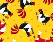 Fat Quarter -Metro Market Chicken with Aprons Robert Kaufman Fabrics AYS-13920-5 Yellow
