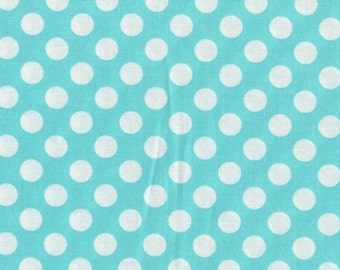 One (1) Yard - Ta Dot Ocean Aqua Background by Michael Miller Fabrics CX1492-OCEA-D