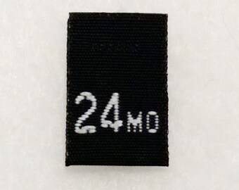 Size 24 mo (Twenty-four Months) Black Woven Clothing Size Tag (Package of 50)