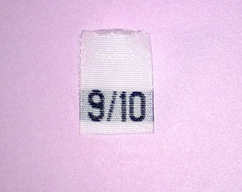 Size 9/10 (Nine-Ten) Woven Clothing Size Tags (Package of 100)