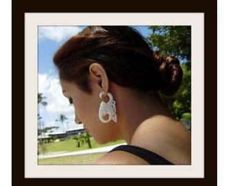 Fake gauge earrings ,Natural Bone ,Split Gauge Earrings ,good luck elephants head.tribal style,oraganic,naturally,hand carved