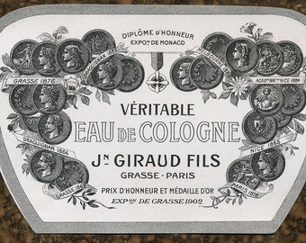Antique Vintage French Apothecary Perfume Label 33