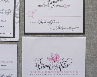 Black and White Sophisticated Floral Wedding Invitations with Pink Magnolias | Vivienne & Miles