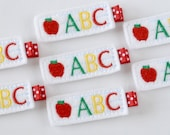 Felt ABC Apple Hair Clip - Back to School Clippies - First Day of School felt hair bows - MasterpiecesOfFunArt