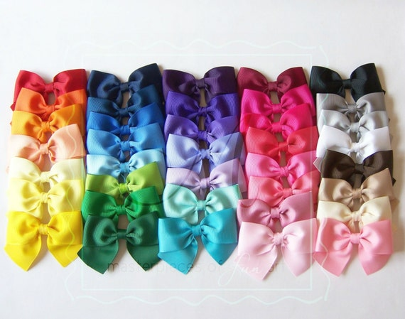 Classic Style Large Bow Hair Clips - You Pick 4 Hair Bows Set - Solid Color Hair Clips - French Barrettes Available - every day hair clips