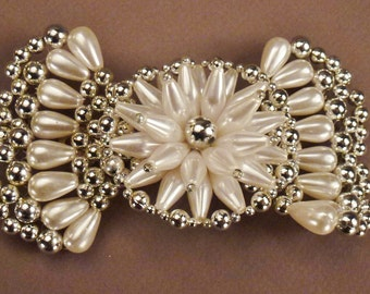 HAIR  Barette BOW Large Faux Pearls silver beads wedding jewelry app 5 x 3