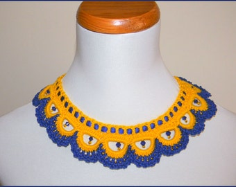 Beautiful Crochet Blue Yellow  Beaded Necklace NEW