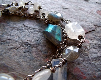 Rainbow Moonstone Labradorite Sterling Silver Three Strand Bracelet