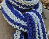 Striped Chunky Scarf - Mens Long Scarf - Womens Knit Wool Winter Neckwarmer - Teen Scarf Warm - Trendy - Fashion - Cobalt Blue - Ivory White