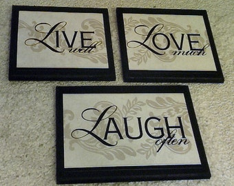 Live Well Love Much Laugh Often home wall decor plaques