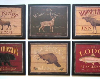 Lodge Wall Decor plaques 6pc set, Bear Moose Deer Elk Fish Beaver, rustic country cabin signs, wildlife pictures, handcrafted