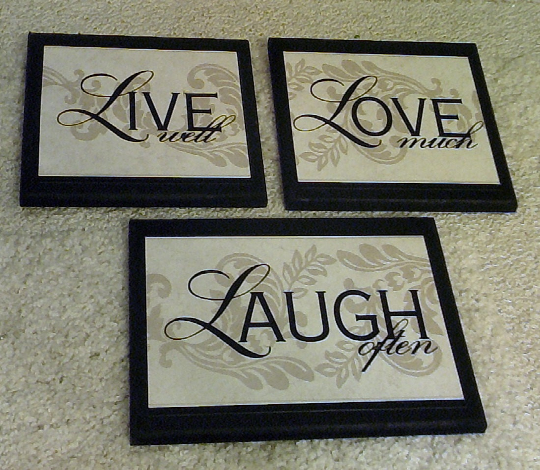 live well love much laugh often home wall decor plaques. Black Bedroom Furniture Sets. Home Design Ideas