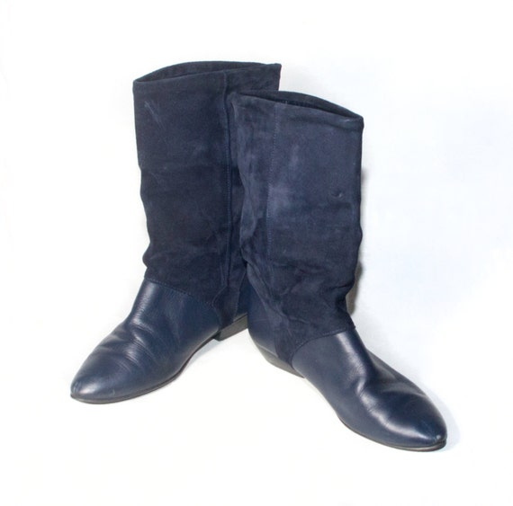 Vtg 80 S Navy Suede Riding Slouch Boots Womens Size 9 Calf