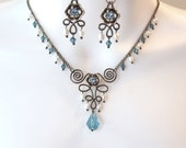 Wire Work Necklace Set - Fleur De Lis Wire Work - Swarovski Crystal Slider Beads - Aqua Crystals - White Rice Pearls