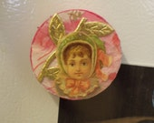 Victorian Child Fridge Magnet Locker Magnet Shabby Chic Collage Art  Funny Magnet Vintage Style --  Such a Pretty Girl
