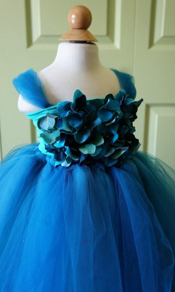 Flower Girl Dress Turquoise Blue Tutu Dress Flower Top Baby