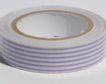 Washi Tape, Lavender and White Striped Fabric Tape - Washi