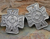 Handmade Tribal Sun White Copper Coptic Cross (1 Pair)
