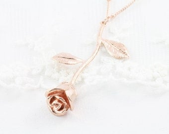 Beautiful Rose. Rose pendant charm necklace rose gold silver simple real preserved leaf flower fern moss minimalist plated garden