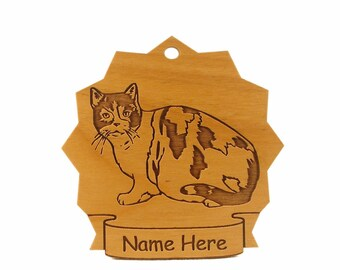 British Shorthair Cat Wood Ornament 087103 Personalized With Your Cat's Name