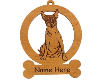 Rat Terrier Sitting Ornament 083803 Personalized With Your Dog's Name - Free Shipping