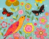 Flower Collage Painting, Mixed Media Bird and Flower Collage Painting, 16 x 20 Art Print