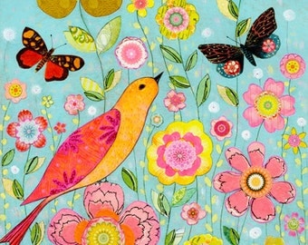 Bird and Flower Painting, Art Print on Wood, Floral Collage Art for Home Decor