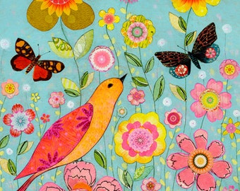 Flower Collage Painting, Mixed Media Bird and Flower Collage Painting,  50 cm x 40 cm (16x20 inches) Art Print