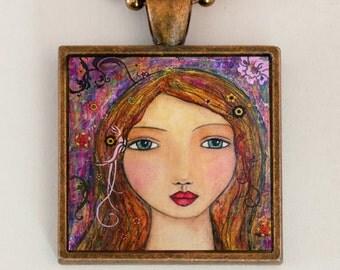 Woman Portrait Pendant Necklace Handmade Art Jewelry