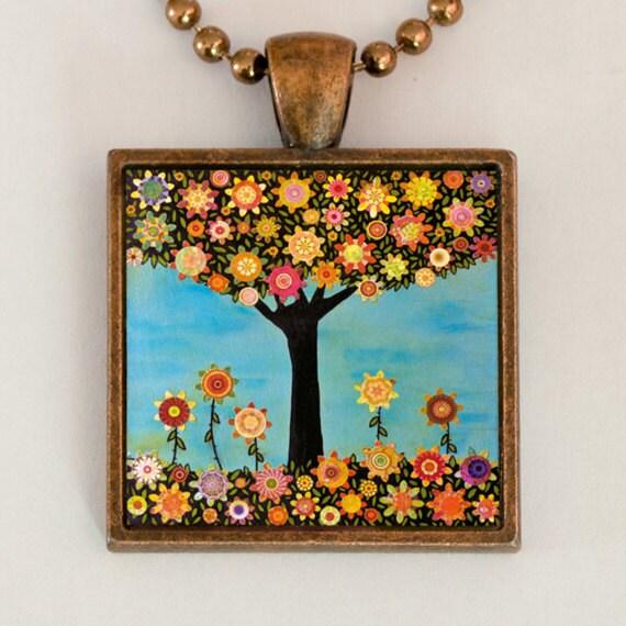 Tree Necklace - Retro Flower Pendant - Handmade Necklace - Art Jewelry