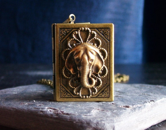 Elephant book locket pendant necklace