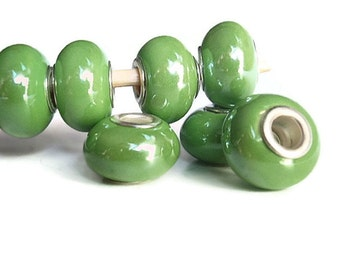 6 Beads, Meadow Green Handmade Porcelain  European Style Beads, Jewelry making Supply, rondelle for European style bracelets