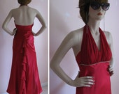 Caliente Vintage 1980s Satin and Chiffon Ruffle Bustle Halter Gown