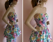 Pop Princess Vintage 1980s Strapless Floral Bubble Skirt Mini Dress