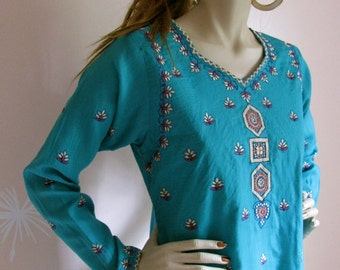 Caftan Girl Vintage 1970s Ethnic Embroidered Cotton Dress