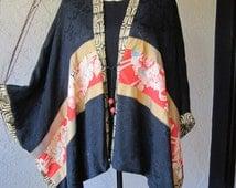 Beautiful Cape Jacket With Antique Kimomo Trim